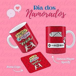 Caneca Dia dos Namorados Player Spotify + Porta Copo