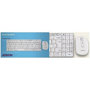 Kit Teclado e Mouse Multilaser Sem fio Branco TC203