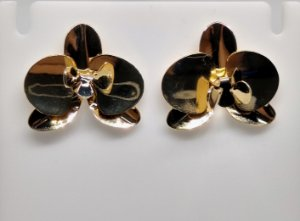Brinco de orquídea folheado a ouro 18k