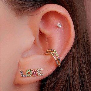Piercing fake com  zirconias coloridas folheado a ouro 18k