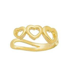 Piercing fake pequeno de corações vazados folheado ouro 18k