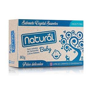 Sabonete Vegetal Baby com Extratos de Camomila e Erva Cidreira 80g - NATURAL SUAVETEX