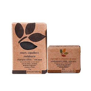Kit de Shampoo e Condicionador Sólido em Barra Cabelos Oleosos - Vegano e Natural - Ares de Mato