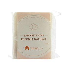 Sabonete Esfoliante com Esponja Natural Cativa Spa Orgânico Natural e Vegano 100g -  CATIVA NATUREZA