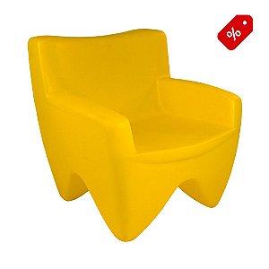 Poltrona Decorativa Cadeira de Plástico Joker Amarelo Pastel Freso - Out