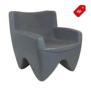 Poltrona Decorativa Cadeira de Plástico Joker Cinza Claro Freso - Out