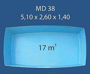 Piscina Fibra 38 (5,10x2,60x1,40) com Hidro Ouro Preto