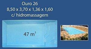 Piscinas Fibra 26 (8,50x3,70x1,36 - 1,60) com Hidro Ouro Preto