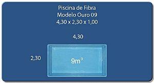 Piscina Fibra 9 (4,30x2,30x1,0) Ouro Preto