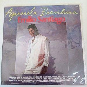 Disco de Vinil Emilio Santiago - Aquarela Brasileira - Interprete Emilio Santiago (1988) [usado]