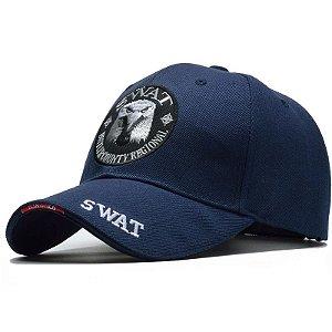 Boné Tático Estilo SWAT Bordado Aba Curva Fecho Em velcro