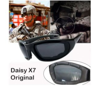 Óculos Militar Original Daisy X7 Uv400 Airsoft Black