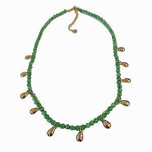 Colar quartzo verde gotas