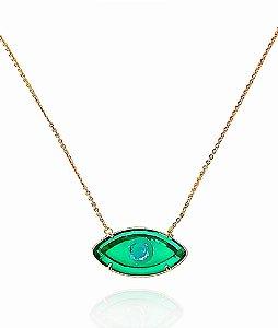 Colar Cristal olho grego verde