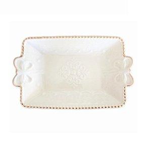 Enfeite Retangular Ceramica Mini Prato Decorativo