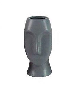 Vaso Rosto em Porcelana Cinza 16cm