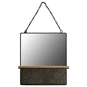 Espelho Emoldurado Com Prateleira de Madeira Square Visions 1.5 x 30 x 30 Cm