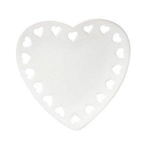 Prato Decorativo Borda Coração Branco 14 Cm