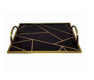 Bandeja de Metal Espelhada Retangular Dourada 38x28x6cm