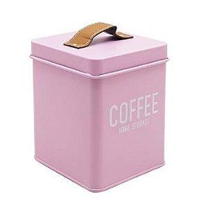 Lata Para Mantimentos Coffee em Metal Rosa