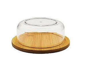 Mini Boleira Em Bambu Com Cúpula Em Acrílico 14,5 cm