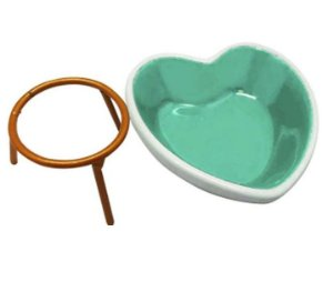 Porta Objetos Enfeite Decorativo de Cerâmica Coração Verde 7cm