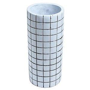 Vaso Decorativo de Cimento Branco 23cm