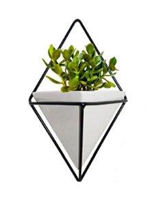Vaso Branco com Preto Trigg e Adorno de Parede Geométrico