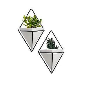 Conjunto 2 Peças Vaso Branco com Preto com Trigg e Adorno de Parede Geométrico