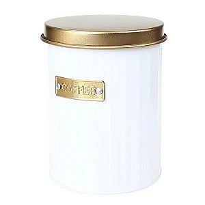 Porta Mantimento Coffee de Metal Redondo Branco
