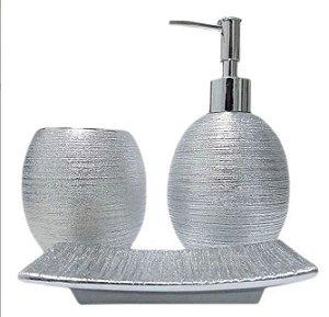 Kit 3 peças de Sabonete Liquido e Acessórios para Banheiro Prateado Brte-10165