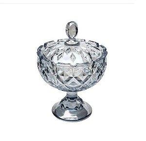 Potiche Decorativo Com Tampa & Pé Crown Cristal