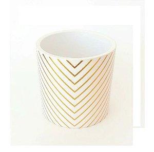 Vaso Ceramica Listrado Dourado e Branco