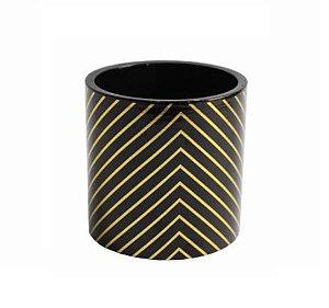 Vaso Ceramica Listrado Dourado com preto