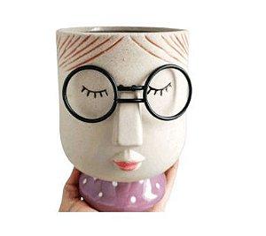 Vasos de Resina Decorativo - Menina de Óculos Tamanho G