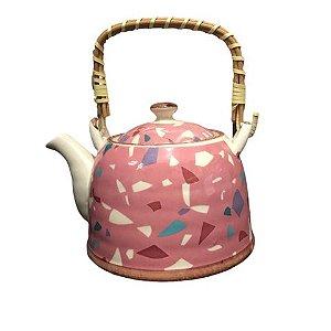 Bule de Cerâmica Rosa Oriental com Infusor
