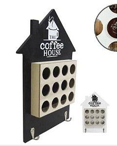Porta Capsulas De Café Nespresso De Madeira Com Porta Chave