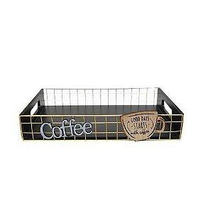 Bandeja de Madeira Estampa Cafe