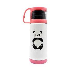 Garrafa Com Tampa E Xícara Ursinho Panda 350ml