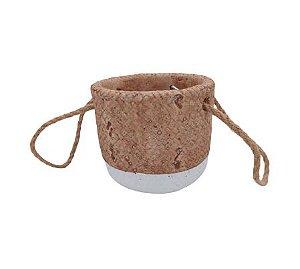 Vaso Cerâmica com Alça Corda Decorativa G