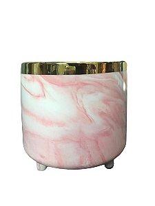 Vaso Marmorizado Rosa Decorativo