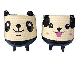 Cachepot Vaso Decorativo de Cerâmicade Cachorro e Urso