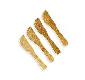 Kit Espátulas De Bambu 9,5 Cm Com 4 Peças