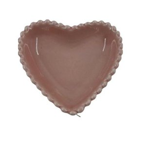 Prato Coração Cerâmica - Rosa 9,3x9,2x5cm