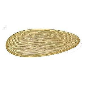Bandeja Dourada Em MDF Oval – 40x22,5cm