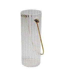 Vaso De Vidro Canelado com Alça 6,5x6,5x18cm