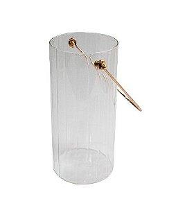 Vaso De Vidro Canelado com Alça 8x18cm