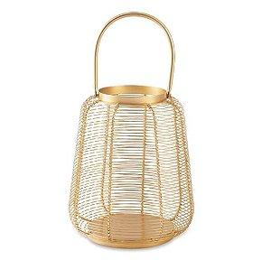 Lanterna Dourada Em Metal P