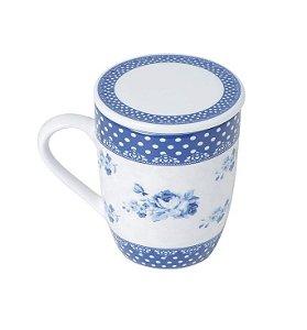 Caneca de Porcelana com Tampa Azul e branca 310ml