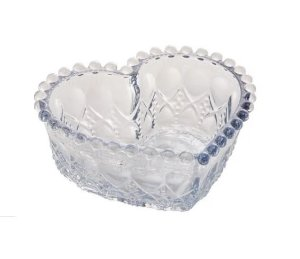 Bowl Balls De Vidro Coração Azul Metalizado